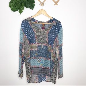 Johnny Was boho long sleeved collared tunic